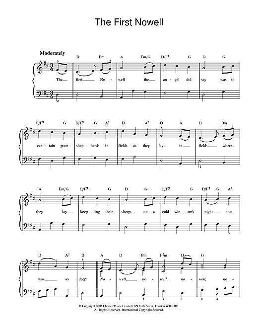 Christmas Carol The First Nowell sheet music preview music notes and score for Easy Piano including 2 page(s)