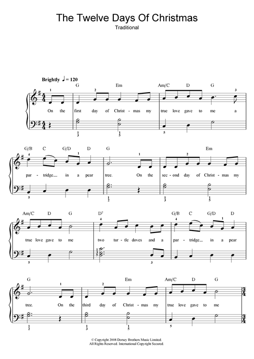 Download Christmas Carol 'The Twelve Days Of Christmas' Digital Sheet Music Notes & Chords and start playing in minutes