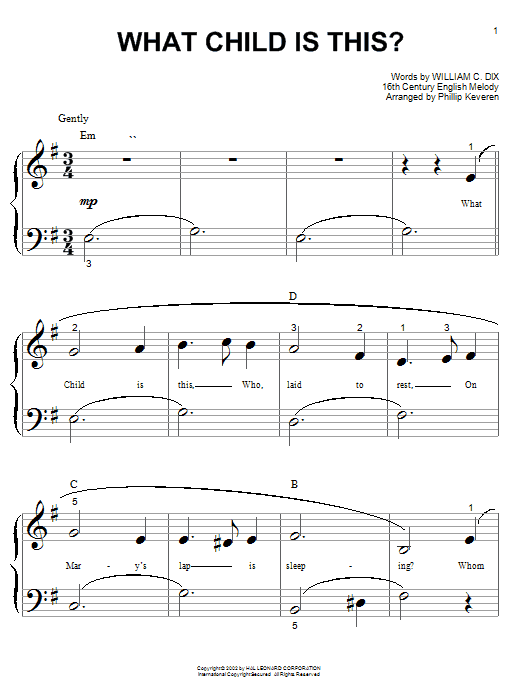 Christmas Carol What Child Is This? sheet music preview music notes and score for Piano (Big Notes) including 2 page(s)