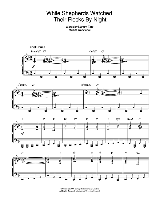 Download Christmas Carol 'While Shepherds Watched Their Flocks (jazz version)' Digital Sheet Music Notes & Chords and start playing in minutes