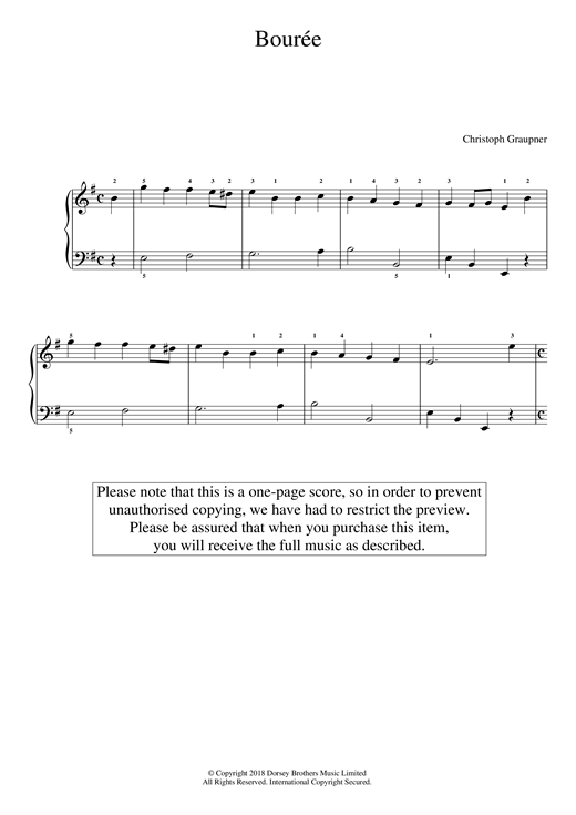 Download Christoph Graupner 'Bourree' Digital Sheet Music Notes & Chords and start playing in minutes
