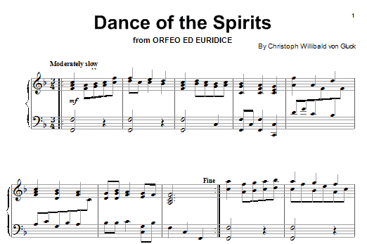 Christoph Willibald von Gluck Dance Of The Spirits sheet music notes and chords