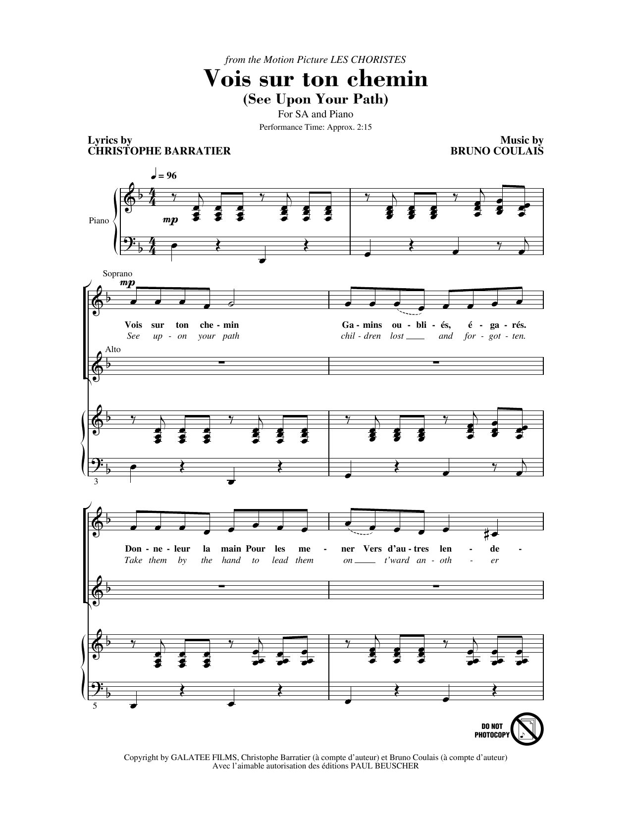 Download Christophe Barratier and Bruno Coulais 'Vois sur ton chemin (See Upon Your Path) (from Les Choristes)' Digital Sheet Music Notes & Chords and start playing in minutes