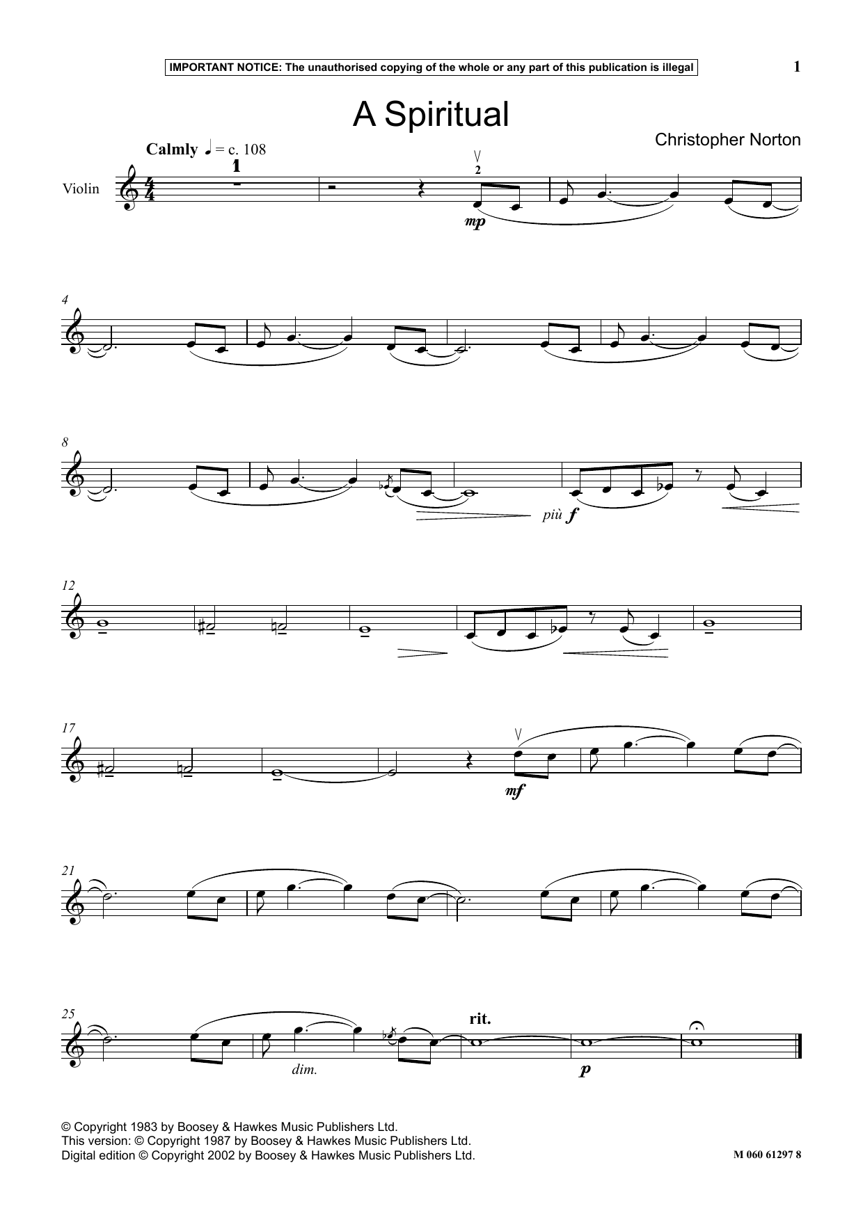 Download Christopher Norton 'A Spiritual' Digital Sheet Music Notes & Chords and start playing in minutes