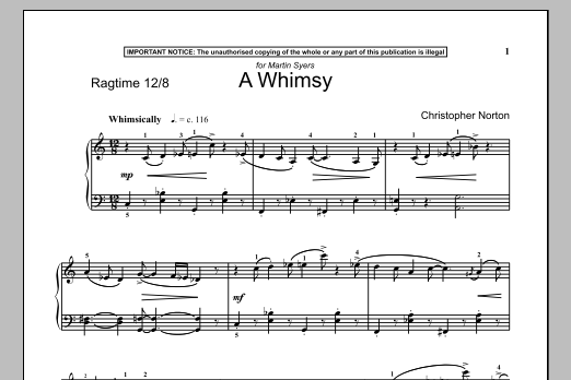 Download Christopher Norton 'A Whimsy' Digital Sheet Music Notes & Chords and start playing in minutes