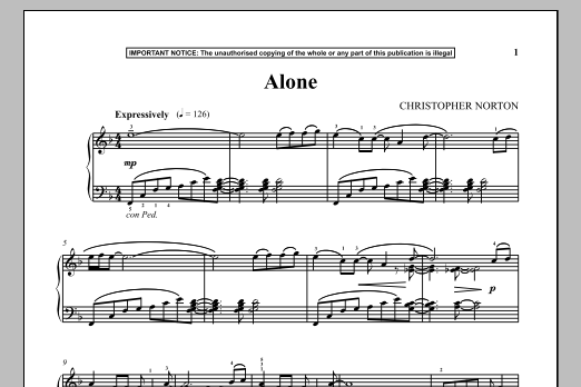 Download Christopher Norton 'Alone' Digital Sheet Music Notes & Chords and start playing in minutes