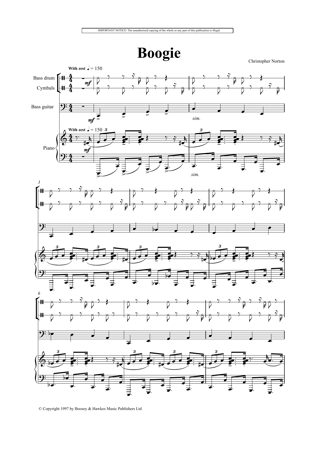 Download Christopher Norton 'Boogie' Digital Sheet Music Notes & Chords and start playing in minutes