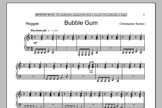 Christopher Norton Bubble Gum sheet music notes and chords