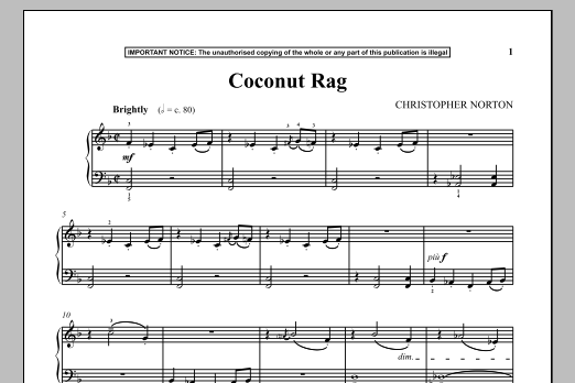 Download Christopher Norton 'Coconut Rag' Digital Sheet Music Notes & Chords and start playing in minutes