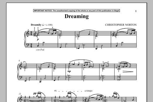 Download Christopher Norton 'Dreaming' Digital Sheet Music Notes & Chords and start playing in minutes