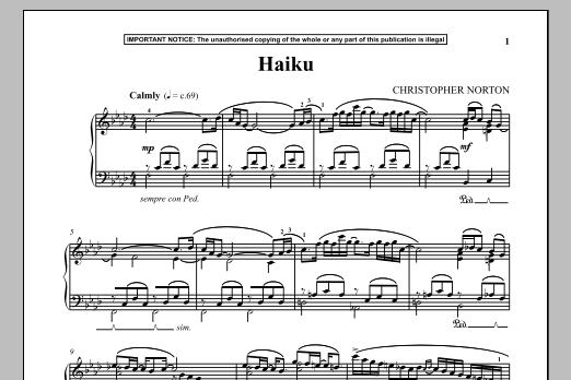 Christopher Norton Haiku sheet music notes and chords