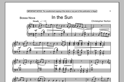 Download Christopher Norton 'In The Sun' Digital Sheet Music Notes & Chords and start playing in minutes