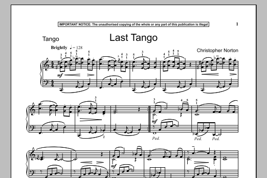 Christopher Norton Last Tango sheet music notes and chords
