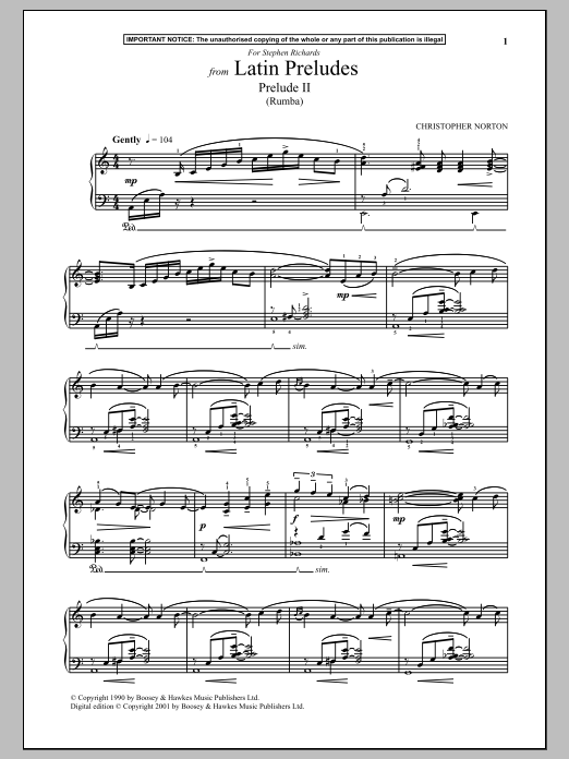 Download Christopher Norton 'Latin Preludes, Prelude II (Rumba)' Digital Sheet Music Notes & Chords and start playing in minutes