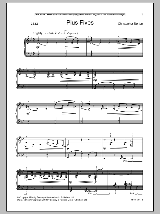 Download Christopher Norton 'Plus Fives' Digital Sheet Music Notes & Chords and start playing in minutes