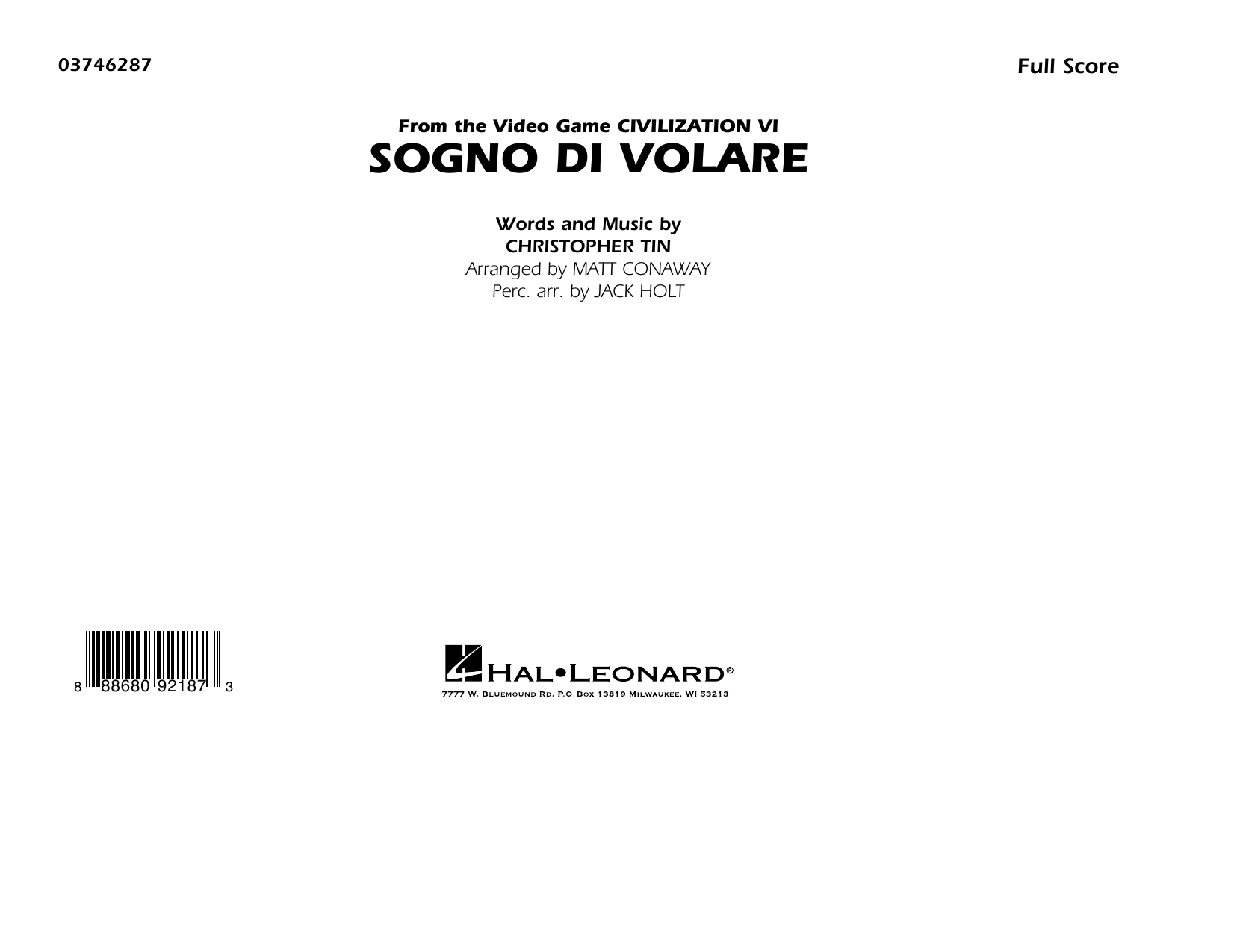 Christopher Tin Sogno di Volare (from Civilization VI) (arr. Matt Conaway) - Conductor Score (Full Score) sheet music preview music notes and score for Marching Band including 12 page(s)