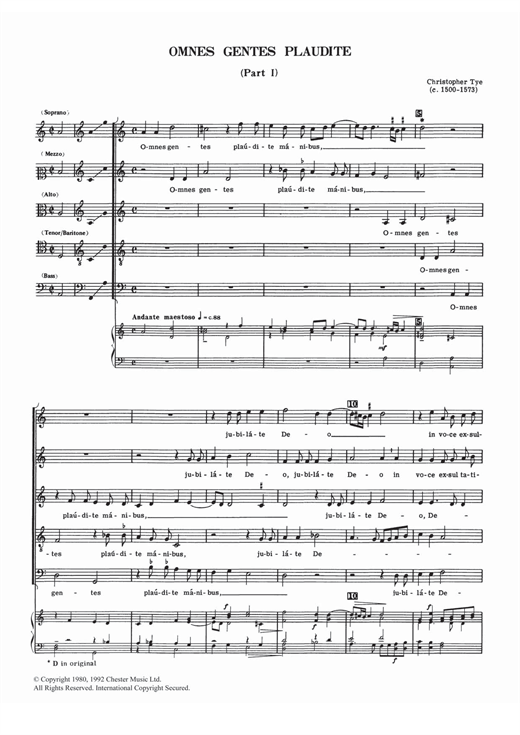 Download Christopher Tye 'Omnes Gentes Plaudite (Parts I And II)' Digital Sheet Music Notes & Chords and start playing in minutes
