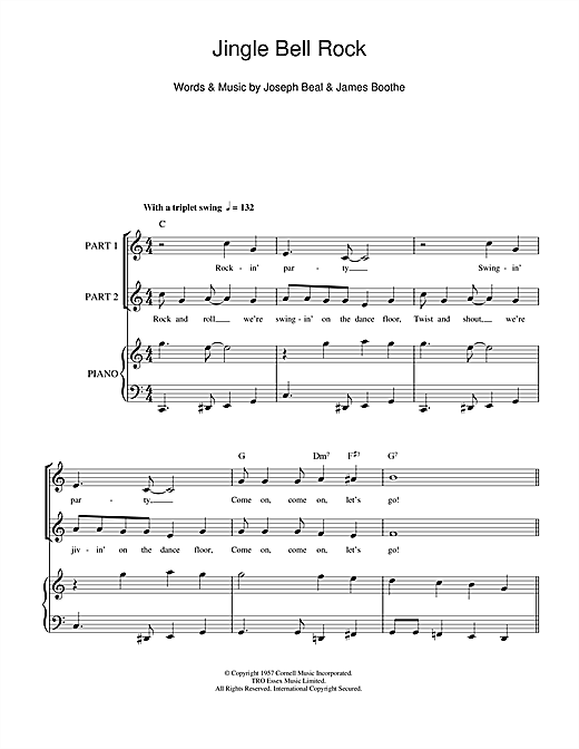 Chubby Checker Jingle Bell Rock sheet music preview music notes and score for 2-Part Choir including 7 page(s)