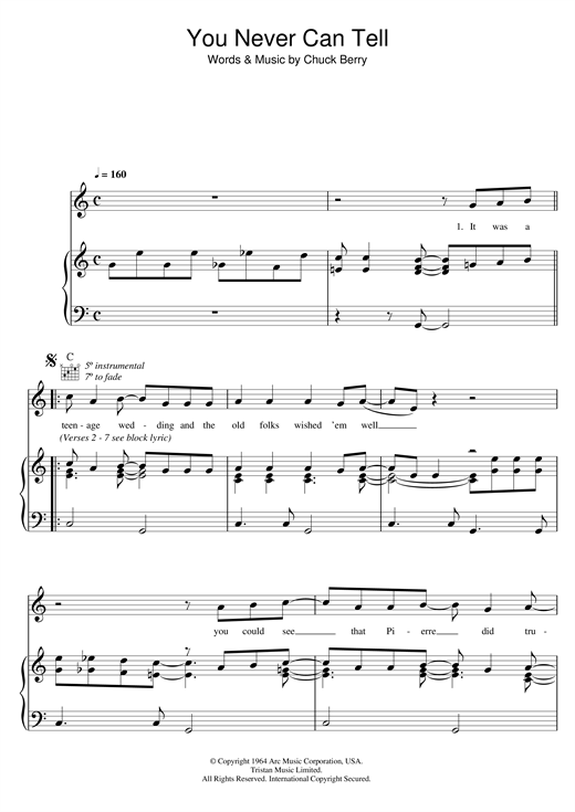 Chuck Berry You Never Can Tell (from Pulp Fiction) sheet music notes and chords