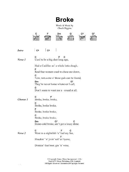 Chuck Higgins Broke sheet music preview music notes and score for Lyrics & Chords including 2 page(s)