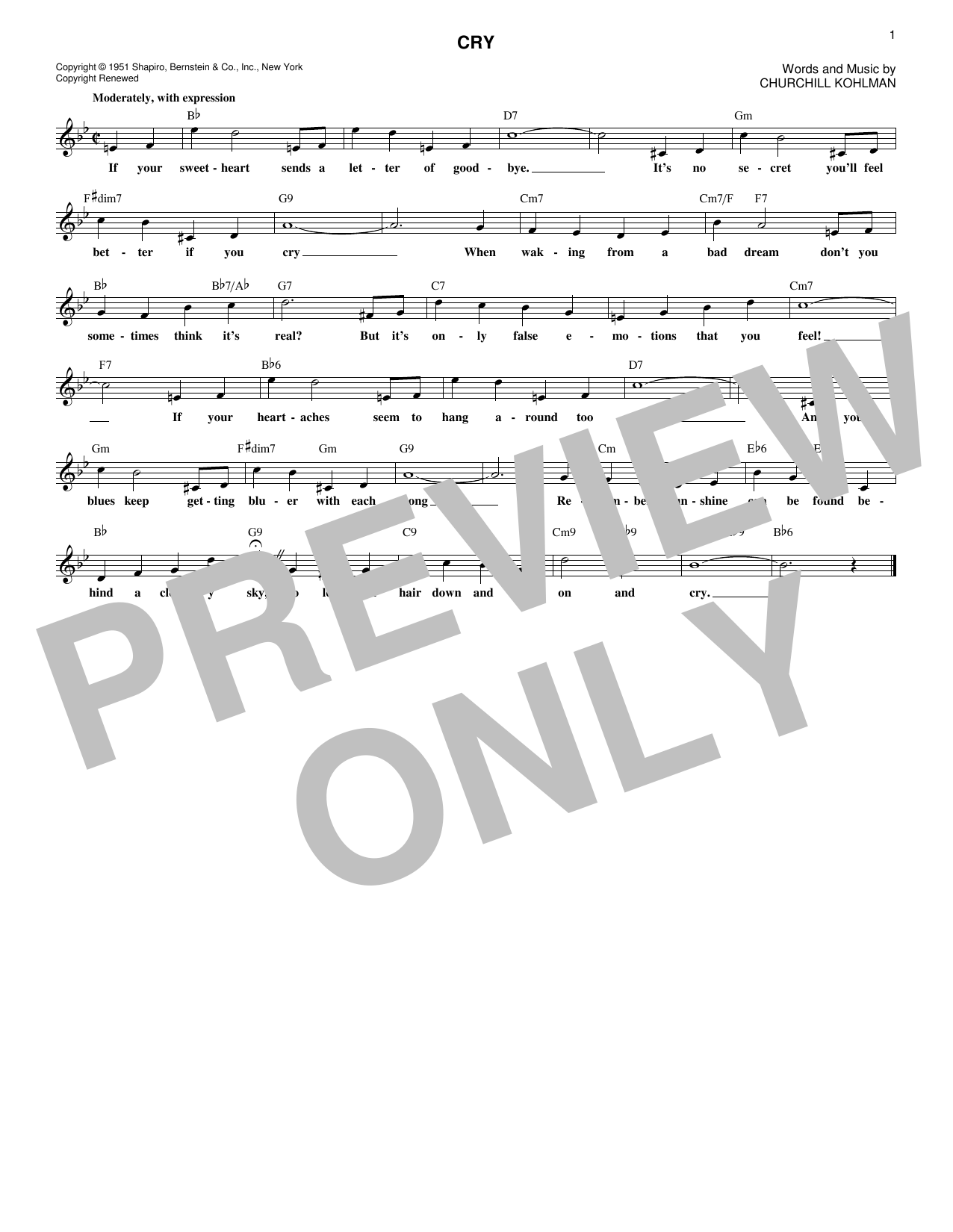 Churchill Kohlman Cry sheet music notes and chords