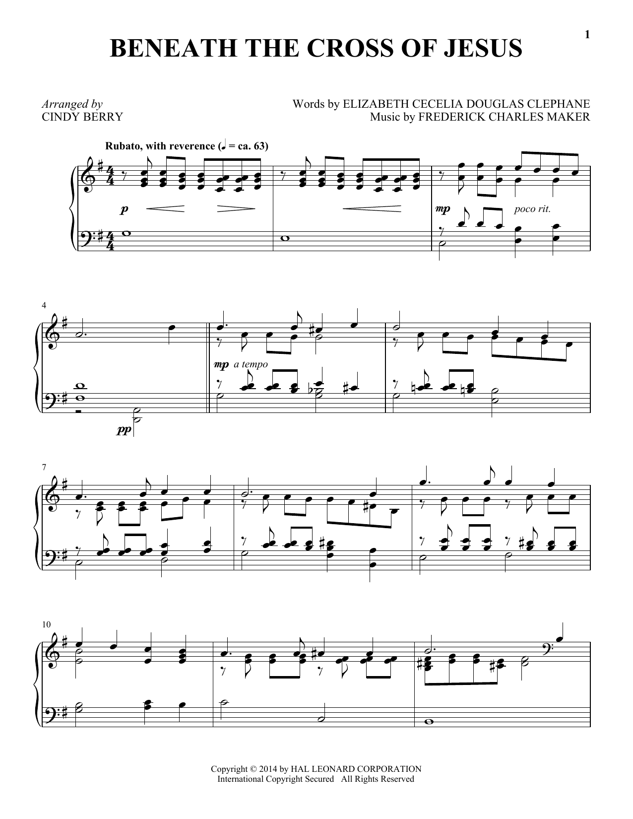 Download Frederick C. Maker 'Beneath The Cross Of Jesus' Digital Sheet Music Notes & Chords and start playing in minutes