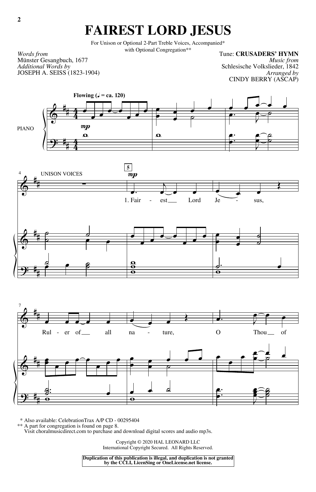 Download Cindy Berry 'Fairest Lord Jesus' Digital Sheet Music Notes & Chords and start playing in minutes