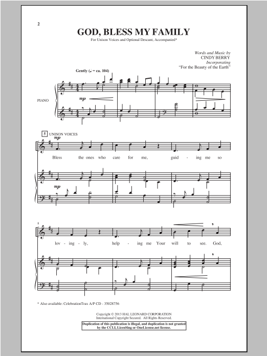 Download Cindy Berry 'God Bless My Family' Digital Sheet Music Notes & Chords and start playing in minutes