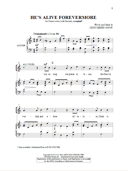 Download Cindy Berry 'He's Alive Forevermore' Digital Sheet Music Notes & Chords and start playing in minutes