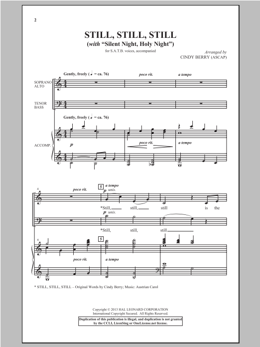 Cindy Berry Silent Night sheet music notes and chords