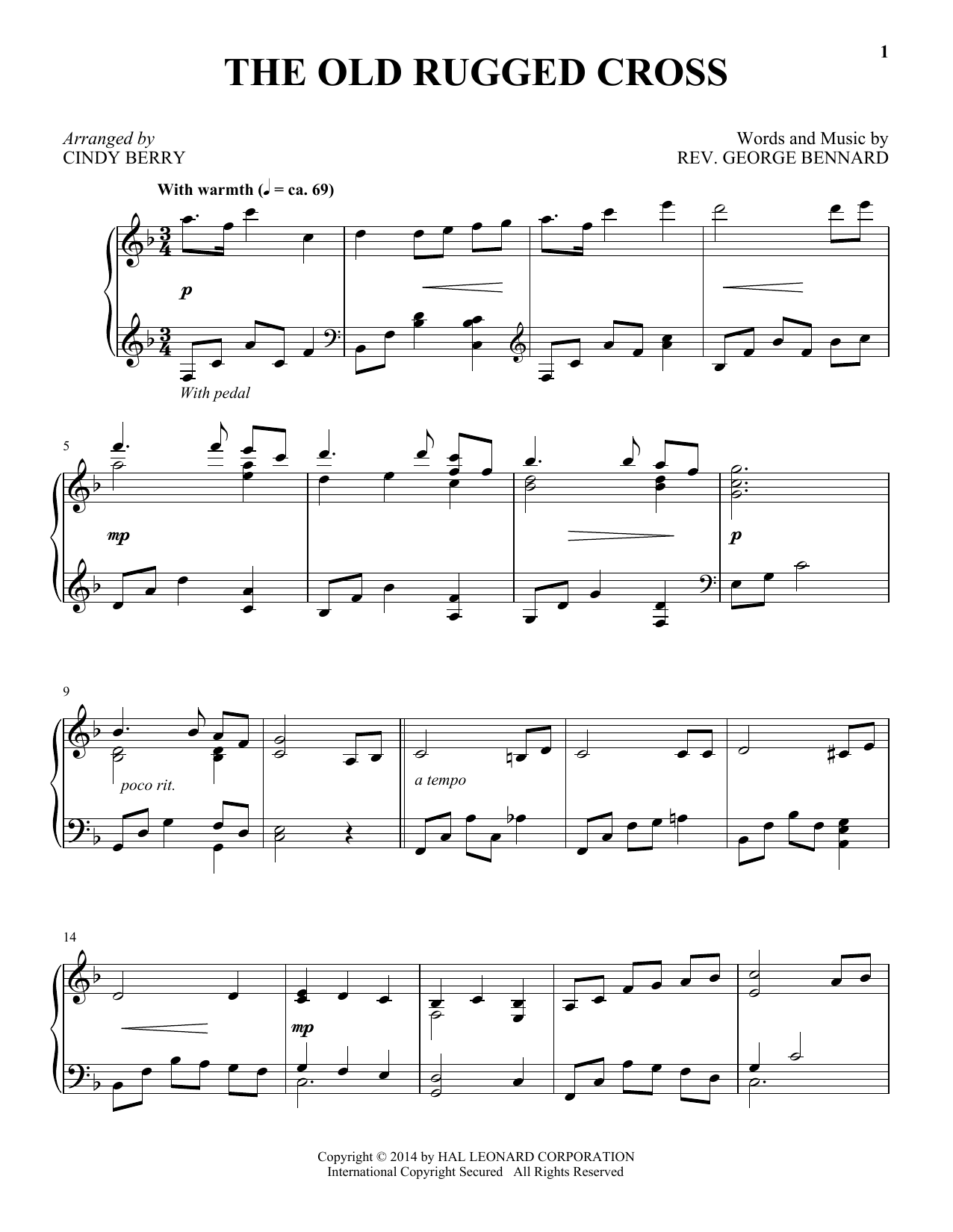 Download Rev. George Bennard 'The Old Rugged Cross' Digital Sheet Music Notes & Chords and start playing in minutes