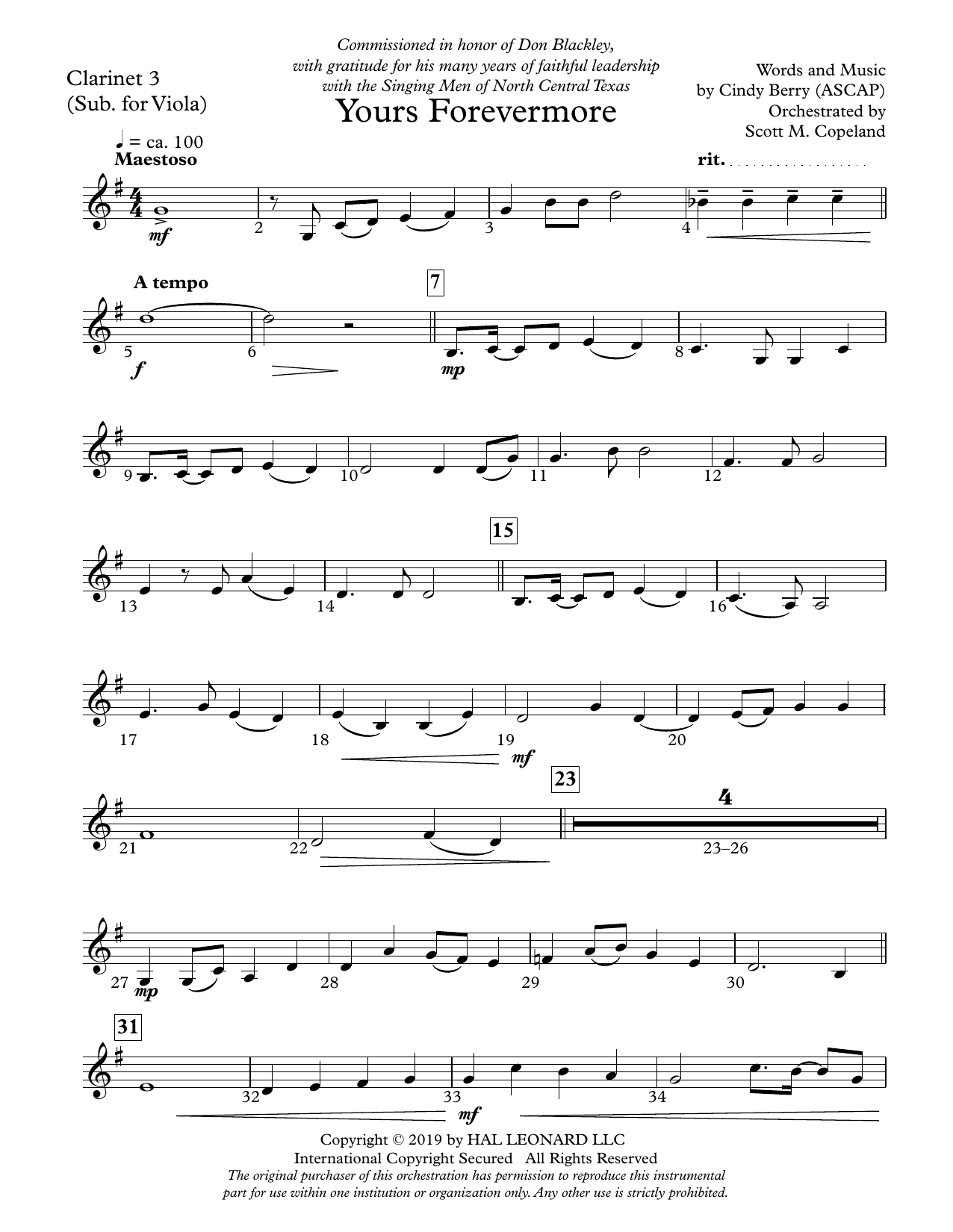 Cindy Berry Yours Forevermore - Clarinet 3 (Sub. Viola) sheet music preview music notes and score for Choir Instrumental Pak including 3 page(s)