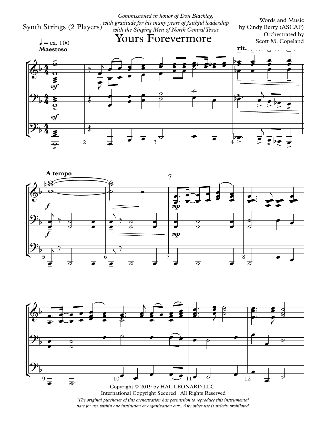 Cindy Berry Yours Forevermore - Keyboard String Reduction sheet music preview music notes and score for Choir Instrumental Pak including 7 page(s)
