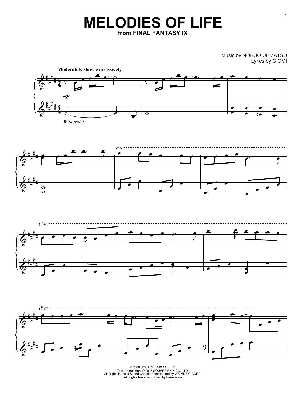 Download Ciomi 'Melodies Of Life' Digital Sheet Music Notes & Chords and start playing in minutes