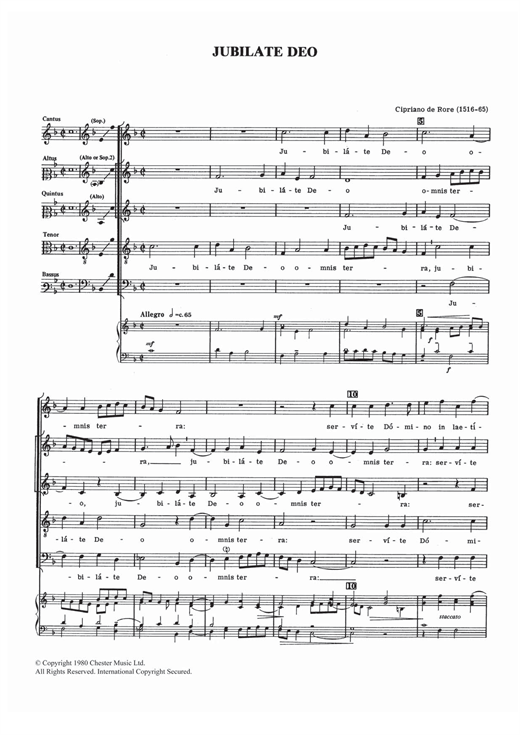 Download Cipriano de Rore 'Jubilate Deo' Digital Sheet Music Notes & Chords and start playing in minutes
