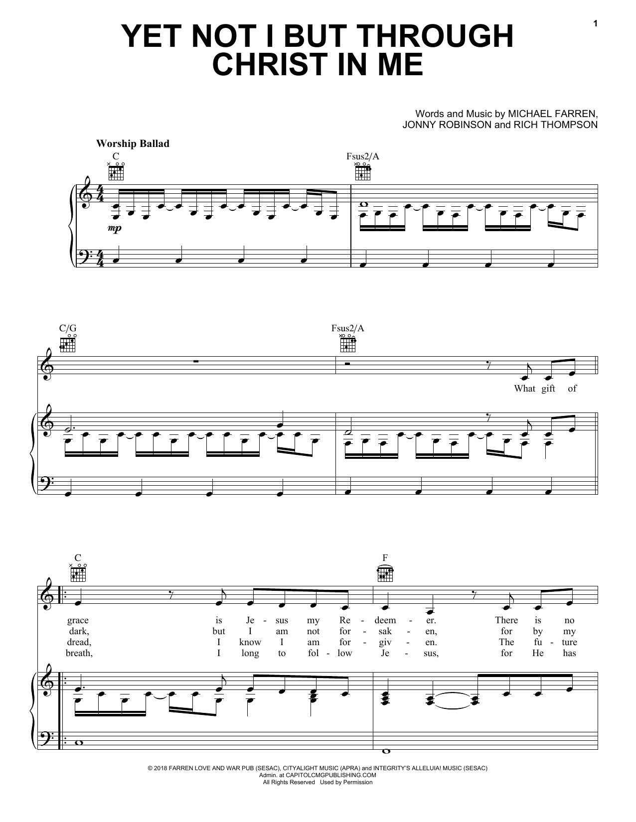 CityAlight Yet Not I But Through Christ In Me sheet music preview music notes and score for Piano, Vocal & Guitar (Right-Hand Melody) including 5 page(s)