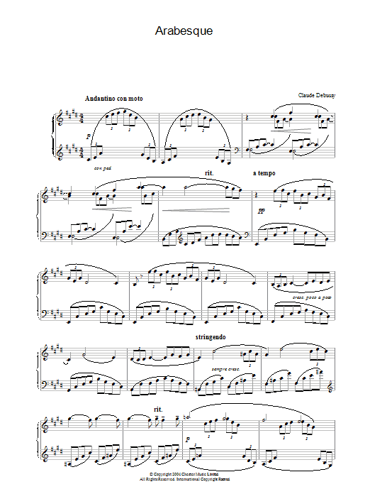 Claude Debussy Arabesque No.1 sheet music preview music notes and score for Piano including 5 page(s)