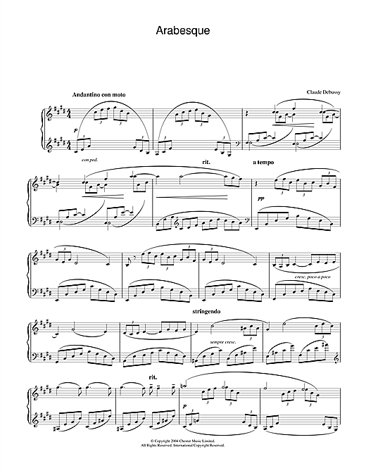 Download Claude Debussy 'Arabesque No.1' Digital Sheet Music Notes & Chords and start playing in minutes