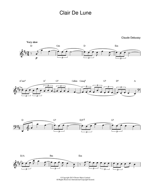 Download Claude Debussy 'Clair de Lune' Digital Sheet Music Notes & Chords and start playing in minutes