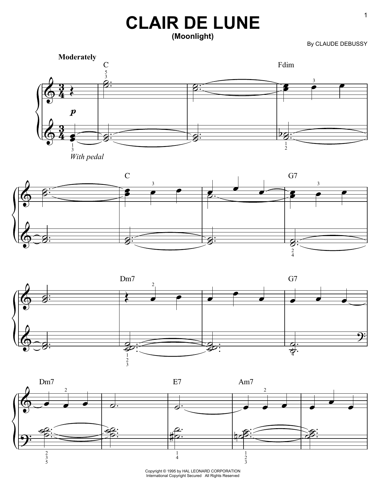 Claude Debussy Clair De Lune sheet music preview music notes and score for Piano including 10 page(s)