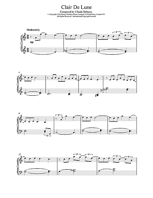 Download Claude Debussy 'Clair De Lune (from Suite Bergamasque)' Digital Sheet Music Notes & Chords and start playing in minutes