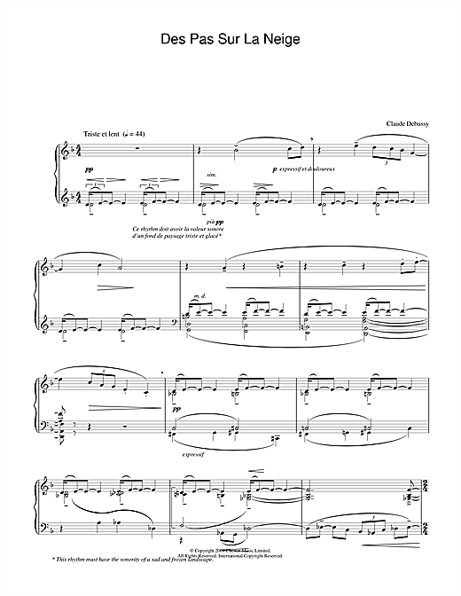 Download Claude Debussy 'Des Pas Sur La Neige' Digital Sheet Music Notes & Chords and start playing in minutes