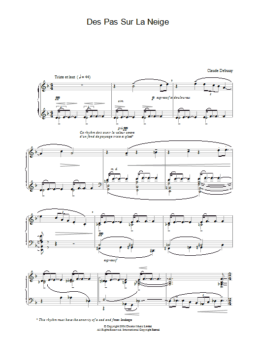 Claude Debussy Des Pas Sur La Neige sheet music preview music notes and score for Piano including 3 page(s)