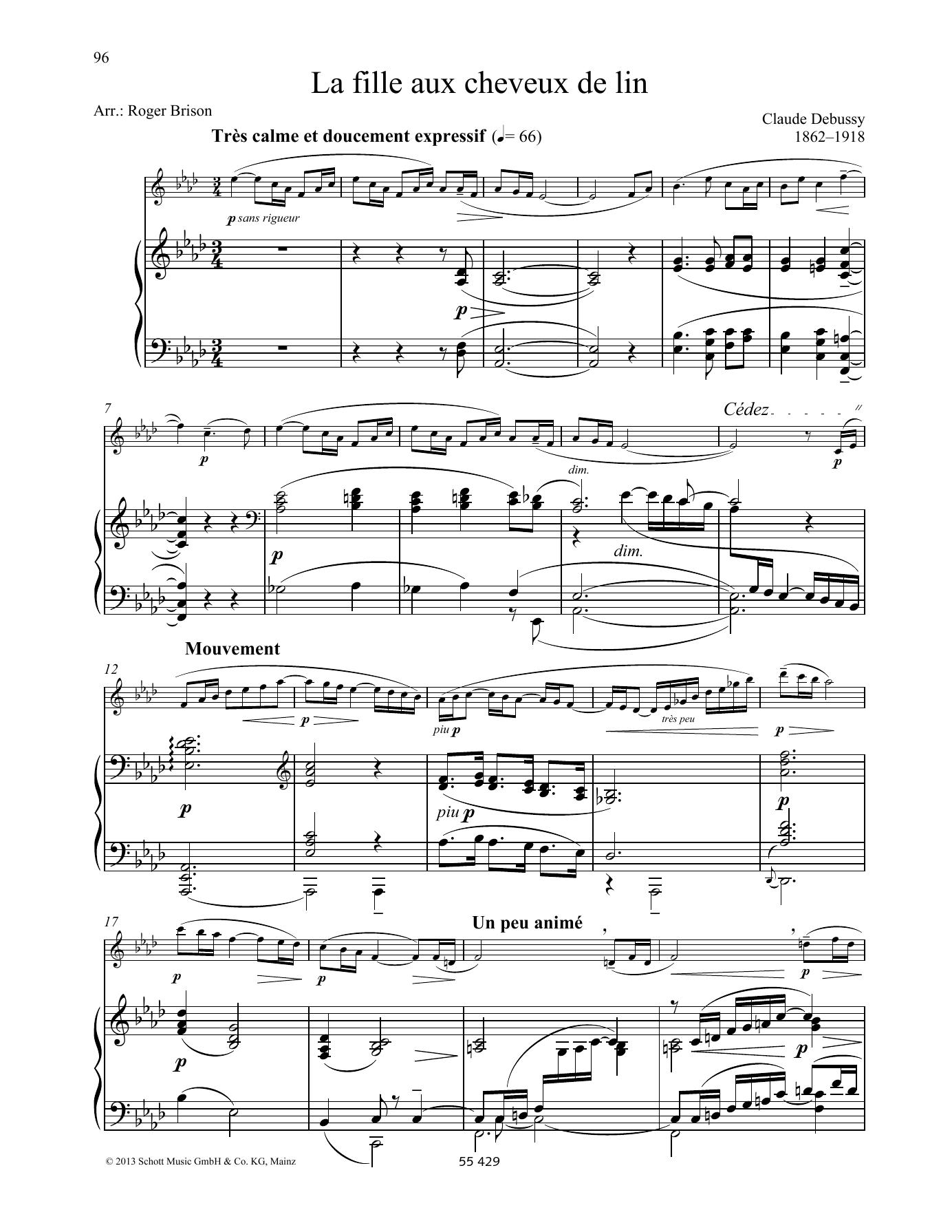 Claude Debussy La fille aux chevreux de lin sheet music preview music notes and score for Woodwind Solo including 3 page(s)