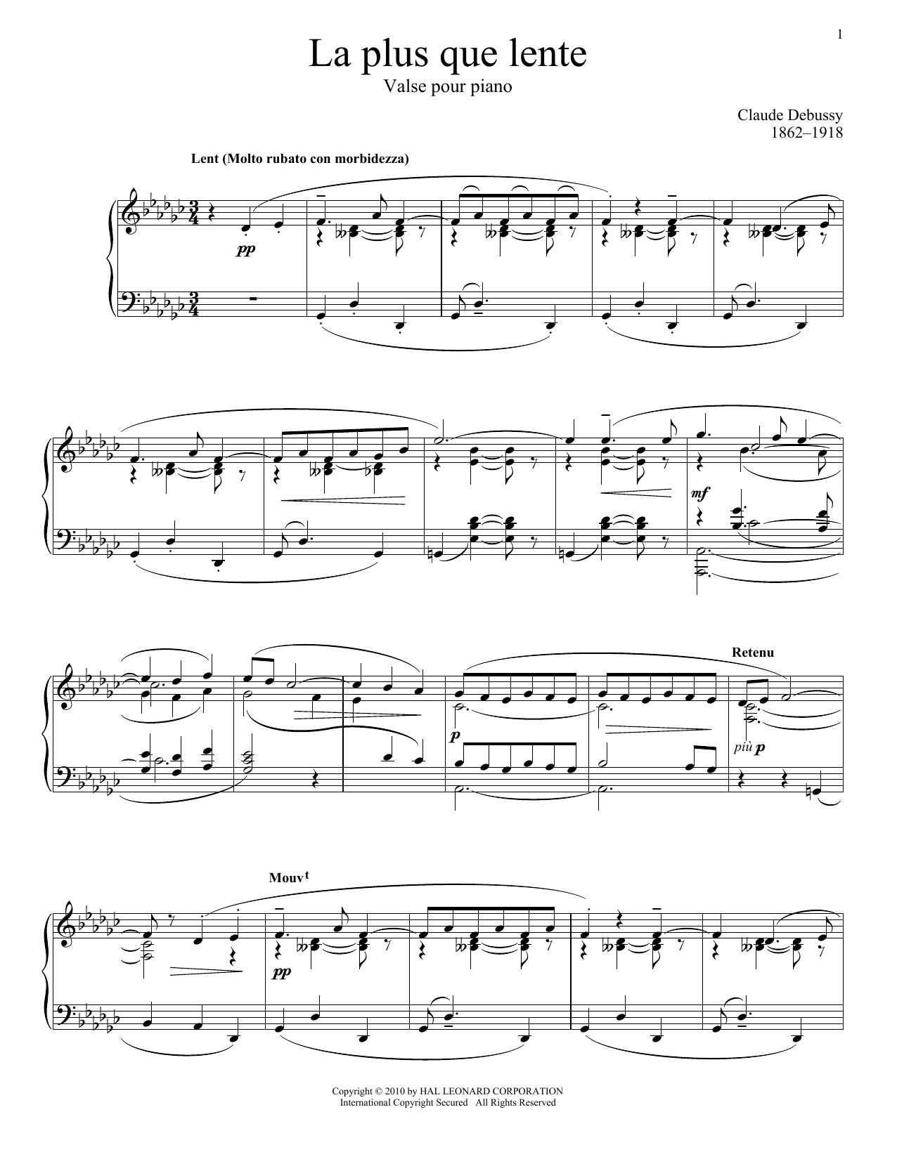 Download Claude Debussy 'La Plus Que Lente' Digital Sheet Music Notes & Chords and start playing in minutes