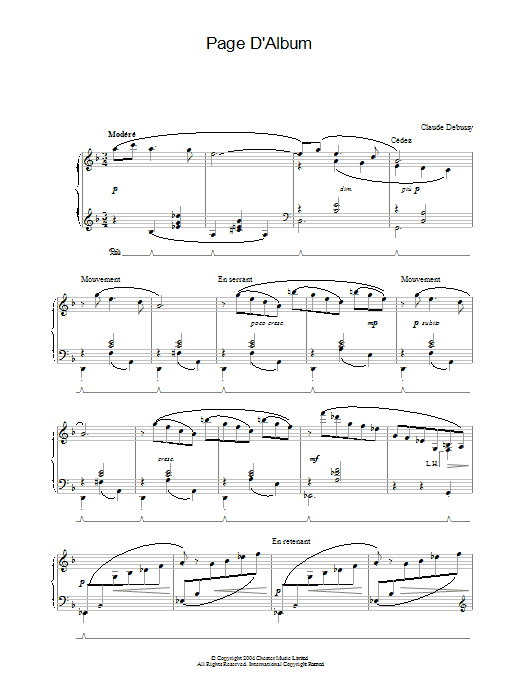 Claude Debussy Page D'Album sheet music preview music notes and score for Piano including 2 page(s)