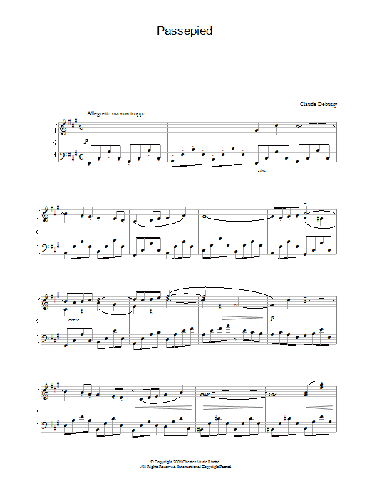 Claude Debussy Passepied sheet music preview music notes and score for Piano including 8 page(s)