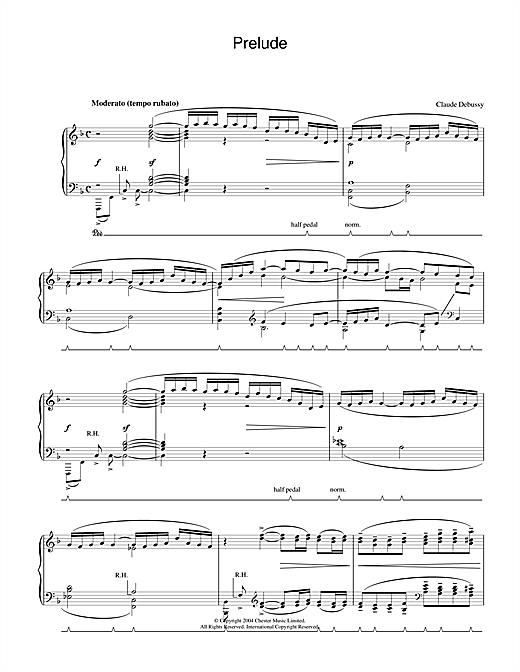 Download Claude Debussy 'Prelude' Digital Sheet Music Notes & Chords and start playing in minutes