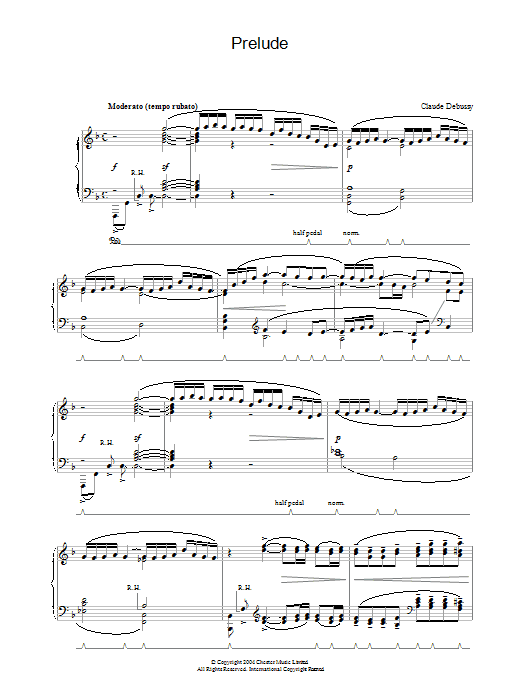 Claude Debussy Prelude sheet music preview music notes and score for Piano including 6 page(s)