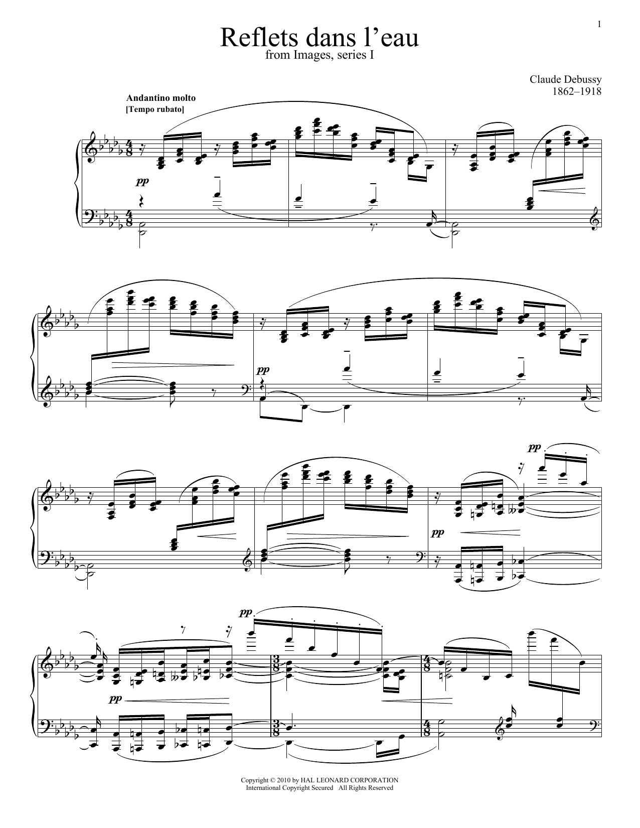Download Claude Debussy 'Reflets Dans L'eau' Digital Sheet Music Notes & Chords and start playing in minutes